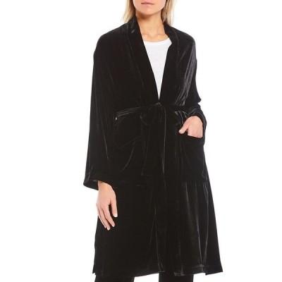エイリーンフィッシャー レディース ジャケット&ブルゾン アウター Open Front Tie Waist Knee Length Velvet Jacket Black