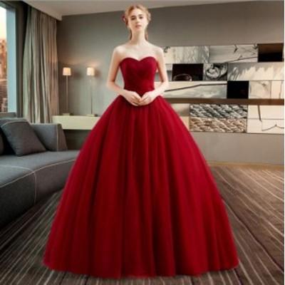 韓国ファッション 花嫁ウェディングドレス 結婚式 二次会 演出服 パーティードレス ステージドレス ホワイト 白 ワインレッド 撮影