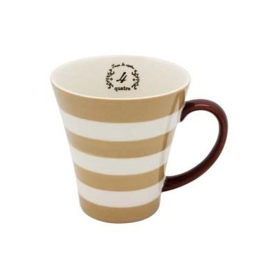 マグカップ compter(コンテ) ブラウンコーヒーカップ マグ カップ コップ ナンバリング 広口 ボーダー 縞々 しましま カフェ 電子レンジ対応