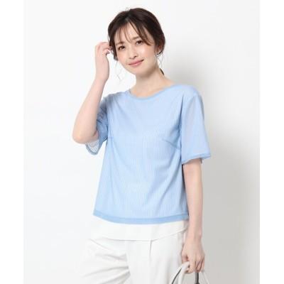 Reflect / 【UVカット/接触冷感/洗える】ストライプチュールレイヤードブラウス WOMEN トップス > Tシャツ/カットソー