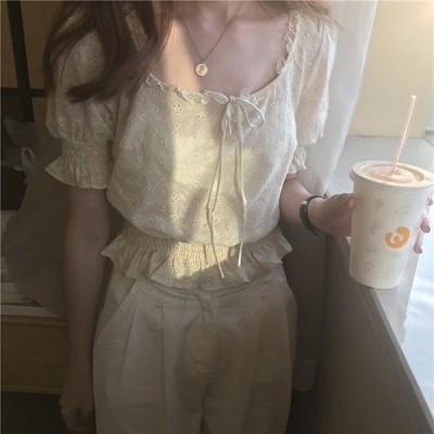 半袖おしゃれトップスレッグオブマトンスリーブオフィス通勤ゆったり体型カバー夏Tシャツ
