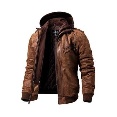 FLAVOR メンズ本革レザージャケット ライダースジャケット豚革 取り外し可能なフード付き (XL, ブラウン)