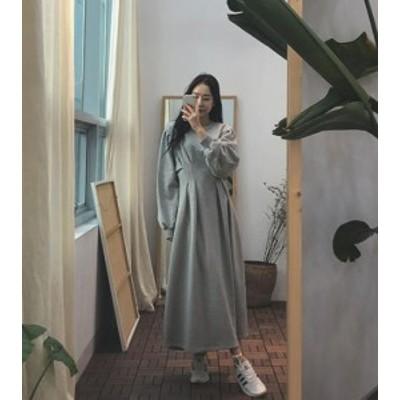 オルチャン 韓国 ファッション ワンピース スウェット ワンピ ロング丈 ボリューム袖 タック フレア 長袖 ゆったり 無地 ベーシック カジ