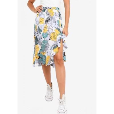 ザローラ ヤング ZALORA YOUNG レディース ひざ丈スカート スカート Ruffle Hem Midi Skirt Teal Base Tropical Print