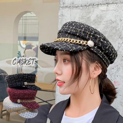 miniministore 帽子 レディース キャスケット チェック柄 おしゃれ 可愛い マリンキャップ 大人 飾りボタン ブラック フリー レディース