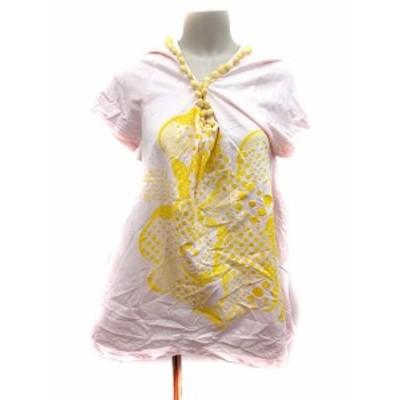 【中古】フラボア FRAPBOIS カットソー Tシャツ Vネック 半袖 1 ピンク /RT レディース