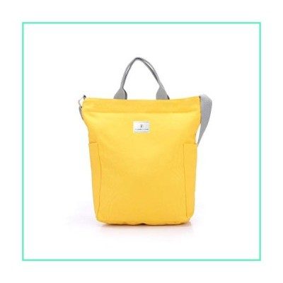 TUOSLAND Canvas Tote Bag,Handbags for Women,Casual Shoulder Crossbody Bags, Zippered Bags with Pockets Adjustable Strap,for Work and Study(Yellow)並