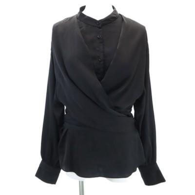 美品 エモダ ワイドウエストシャツ F ブラック EMODA 長袖 ブラウス レディース 古着 200907 メール便可