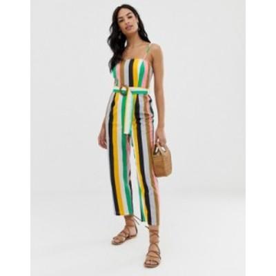 エイソス レディース ワンピース トップス ASOS DESIGN strappy pinny belted jumpsuit in stripe print Multistripe