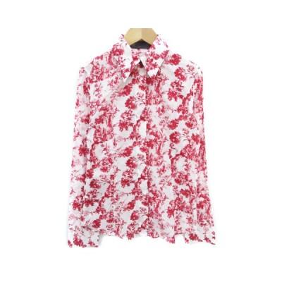 【中古】マウジー moussy シャツ ブラウス 長袖 透け感 花柄 総柄 2 白 赤 ホワイト レッド /FF38 レディース 【ベクトル 古着】