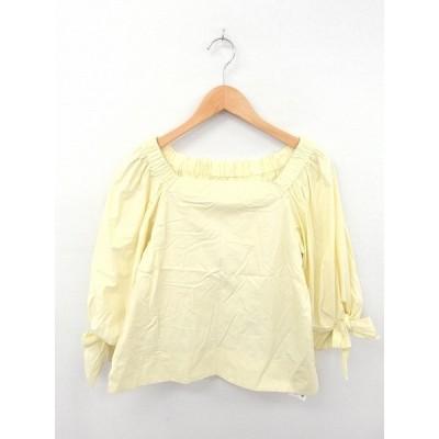 【中古】デザインワークス DESIGNWORKS カットソー Tシャツ スクエアネック ラグランスリーブ 無地 薄手 長袖 38 黄 イエロー レディース 【ベクトル 古着】