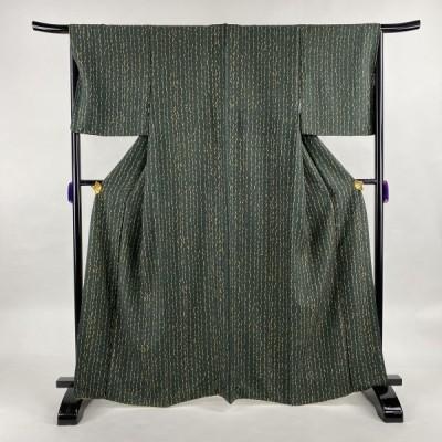 小紋 美品 秀品 柳 深緑 袷 身丈166cm 裄丈66cm M 正絹 中古