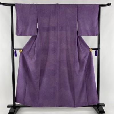 江戸小紋 美品 秀品 寄せ柄 草花 紫 袷 身丈158cm 裄丈62.5cm S 正絹 中古