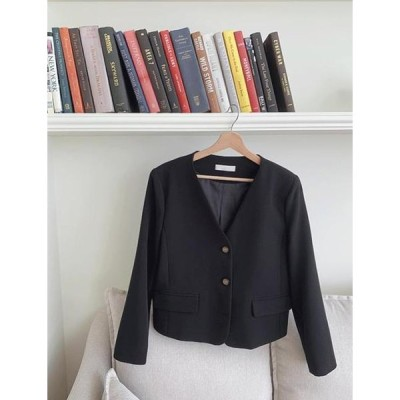 GIVEU レディース ジャケット Carry no-collar cropped jacket