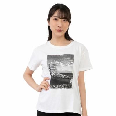 レディース プリント 半袖Tシャツ ホワイト 杢チャコール Lネイビー ルームウェア