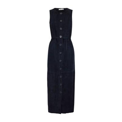 YVES SALOMON ロングワンピース&ドレス スチールグレー 32 羊革(ラムスキン) 100% ロングワンピース&ドレス