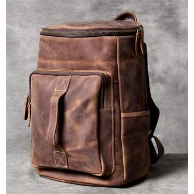 QLC78上層牛革 ヴィンテージメンズバックパック ビジネス バッグパックスポーツバックパックトラベルバッグ 書類かばん