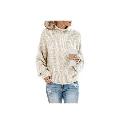 セーター レディース タートルネック 無地 シンプル ニットセーター 長袖 プルオーバー トップス 秋 冬 編み物 カジュアル ニットソー