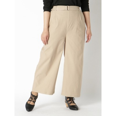 【大きいサイズ】【L-3L】嬉しい機能付!ベルト付美脚ワイドパンツ 大きいサイズ パンツ レディース