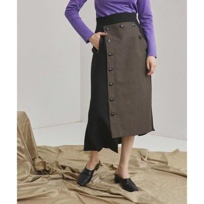 スカート イレギュラーアングルボタンスカート