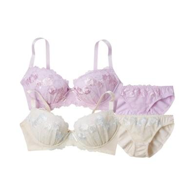 3タイプから選べるデザインフラワーレースブラジャー。ショーツ2セット組(A70/M) (ブラジャー&ショーツセット)Bras & Panties