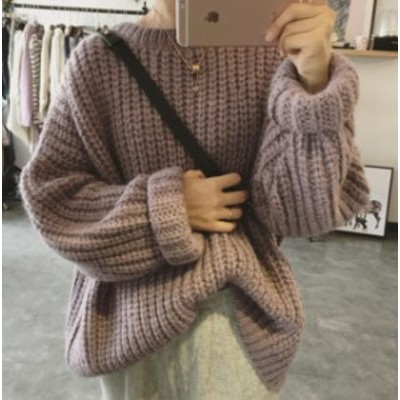 韓国 ファッション レディース ニット トップス ざっくり編み 長袖 ゆったり カジュアル 大人可愛い シンプル 暖かい 秋冬