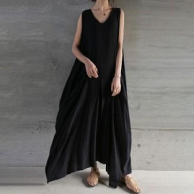 春の新作 韓国のファッション ロング丈 レディース 大きサイズ ノースリーブ ワンピース 着痩せ ブラック 夏ワンピ カジュアル 通勤 エレ
