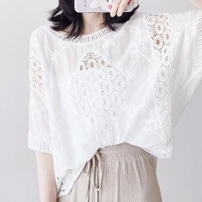 ブラウス シャツ トップス パンチングレース 花柄 透け感 半袖 セクシー レトロ ゆったり 大人可愛い フェミニン ガーリー