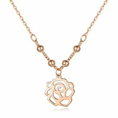 ソリッド18Kゴールドローズフラワーペンダントネックレス レディース ティーン用 奥様/母/ガールフレンドへのプレゼント 彼女へのファイ