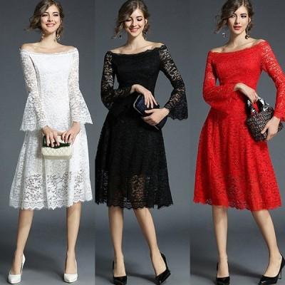 パーティードレス ミディアムドレス ワンピース オフショルダー フレアスリーブ Aライン レース 大きいサイズ インポート DIVAセレクト
