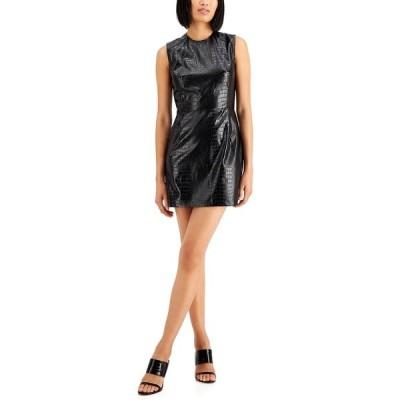 フレンチコネクション ワンピース トップス レディース Croc-Embossed Mini Dress Black