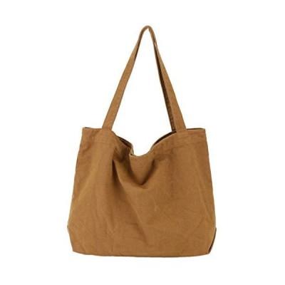 EMSO トートバッグ 帆布 キャンバス シンプル 無地 男女兼用 大容量 マザーズバッグ (ブラウン)