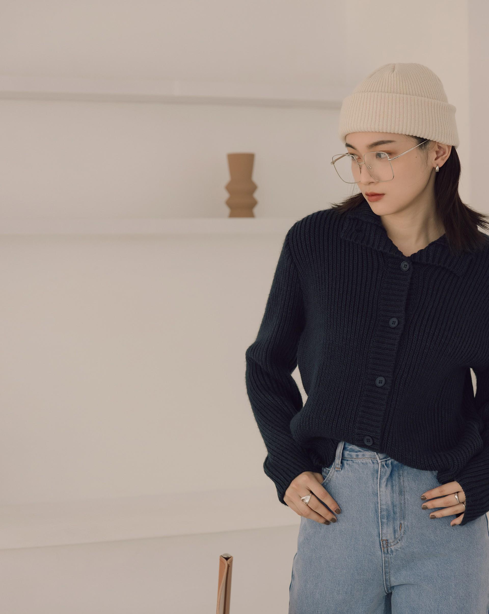 高領粗針織毛衣外套-Meierq