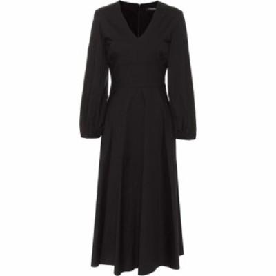 マックスマーラ S Max Mara レディース ワンピース ミドル丈 ワンピース・ドレス Ardenne cotton-blend midi dress Nero