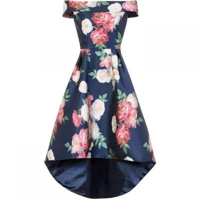 チチ Chi Chi レディース パーティードレス ワンピース・ドレス Printed Bardot Dip Hem Dress Navy