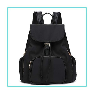 Waterproof Nylon Women Backpack Purse Multipurpose School Travel Shoulder Bag (Black)