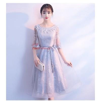 パーティードレス 結婚式 ドレス ウェディング 大人 袖あり 演奏会 グレードレス お呼ばれドレス ドレス パーティー ロングドレス 卒業式 グレー