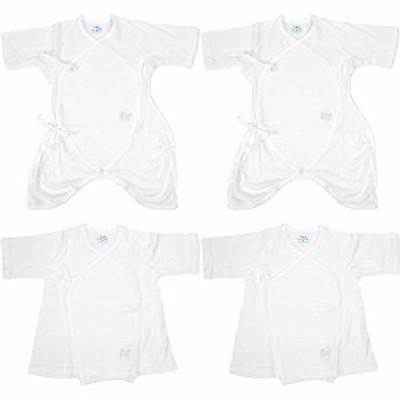 エンゼル ベビー 短肌着 コンビ肌着 4枚セット 脇メッシュタイプ 新生児肌着 日本製 出産準備 出産祝い 50~70cm 綿100% 通年素材 白