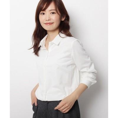 シャツ ブラウス 【手洗い可】ジャージベーシックシャツ