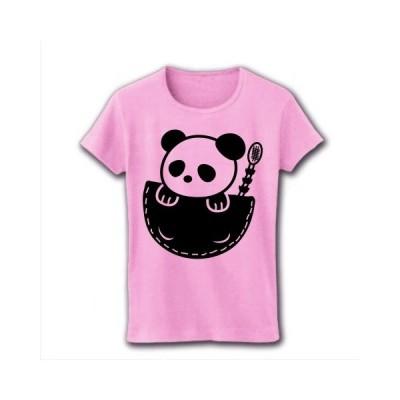 ポケットぱんだ リブクルーネックTシャツ(ライトピンク)
