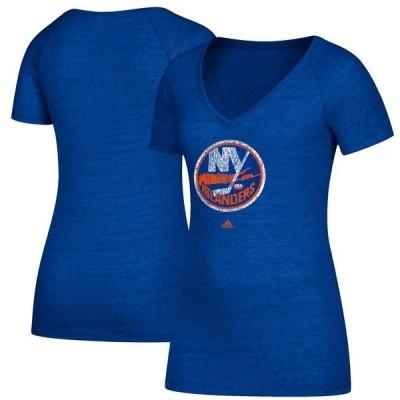 アディダス レディース Tシャツ トップス New York Islanders adidas Women's Distressed Logo V-Neck T-Shirt