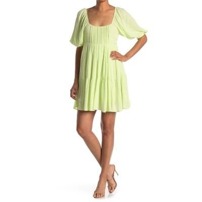 アボンド レディース ワンピース トップス Puff Sleeve Dress GREEN LIMECREAM