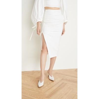 プラバル グルン Prabal Gurung レディース ひざ丈スカート ポプリン シャーリング スカート Poplin Side Ruched Skirt White
