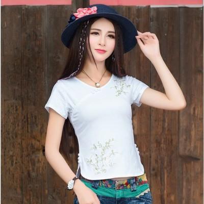 Tシャツカットソー レディース 半袖 トップス ホワイト 白黒 チャイナ風 チャイナボタン 刺繍