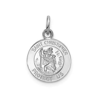 Solid 925 Sterling Silver Catholic Patron Saint Christopher Pendant Charm Medal - 18mm x 11mm【並行輸入品】