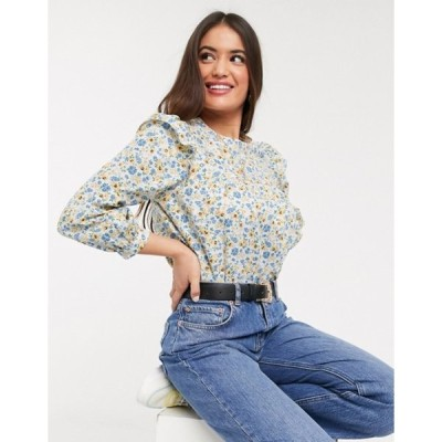 ニュールック レディース シャツ トップス New Look poplin frill detail smock blouse in floral print