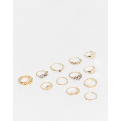 エゴ レディース リング アクセサリー EGO ring statement sovereign stacking multipack in gold Gold