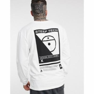 ザ ノースフェイス The North Face メンズ 長袖Tシャツ トップス Steep Tech long sleeve t-shirt in white ホワイト