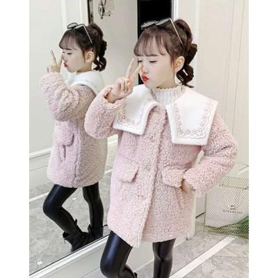 女の子 防寒 アウター コート キッズ ピンク グリーン 暖か おでかけ シンプル 110〜160