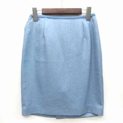 【中古】ジャスグリッティー JUSGLITTY バックフリル タイト ミニ スカート ブルー 青 2 美品 レディース
